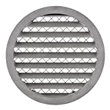 Griglia di ventilazione rotonda in alluminio, 200 mm, con griglia di protezione per topi
