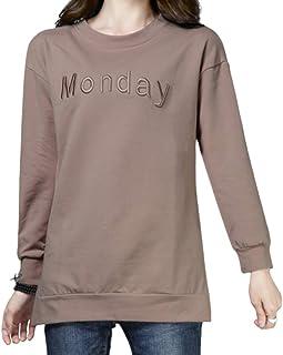 RayCroce(レイクローチェ) 小物 レディース トップス Tシャツ カットソー ミドルスタイル チュニック丈 ゆったり 刺繍 ラウンドネック 長袖 サイドスリット ソフト オフィスカジュアル 1904YR0001