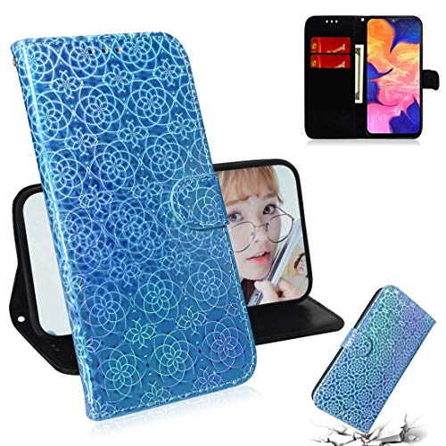 HH-Phone Funda para Galaxy A10 / M10 Color sólido Hebilla Magnética Colorida Horizontal Flip Funda de piel PU con soporte y ranuras para tarjetas, cartera y cordón (azul) Hangma (Color: Azul)