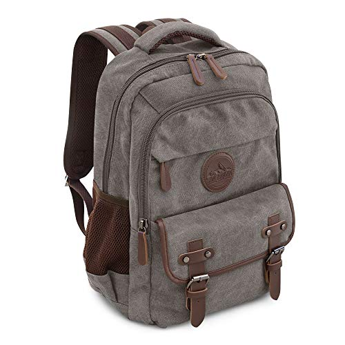 Canvas Backpack for School Hiking w/ 15in Laptop Sleeve Many Pockets