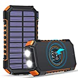 FEELLE Solar Charger 26800mAh High Capacity, Wireless Portable Charger USB C Power Bank