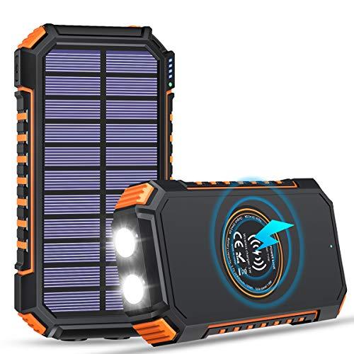 FEELLE Solar Powerbank 26800mAh Wireless Tragbares Ladegerät USB C Externer Akku mit 4 Ausgängen, Fast Ladegerät für iPhone Samsung iPad und wasserdicht Camping/Wandern im Freien