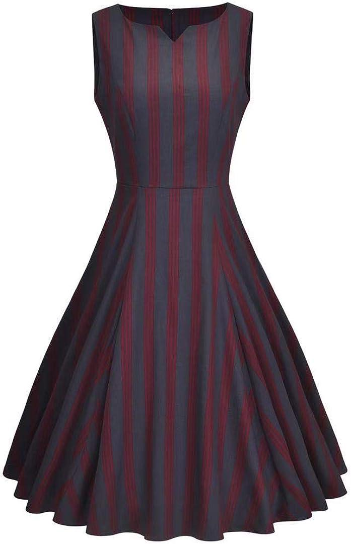YARN & INK Women's Vintage Dress 1950s Rockabilly Retro Sleeveless Vest Dress Cocktail Swing Party Dress