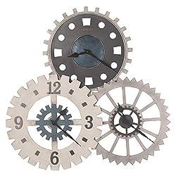 Howard Miller Cogwheel I Gallery Wall Clock 625-725 – Charcoal & Aged Silver Finish, Metal Gears, Arabic Numerals, Industrial Home Décor, Quartz Movement