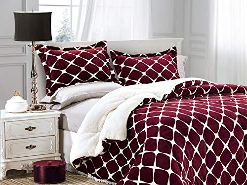 Elegant Comfort Softest, Coziest Premium Quality Heavy Weight Bloomingdale Pattern Micromink Sherpa-Backing Reversible Down Alternative Micro-Suede 3-Piece Comforter Set, Full, Burgundy