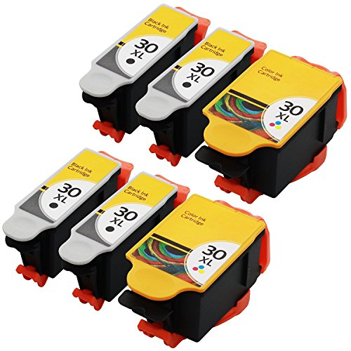 JETDIRECT 6 Pack Compatible Replacement Set for Kodak 30XL 30 XL (4 Black, 2 Color) 1550532 1341080 for use in ESP 3.2 C110 C310 C315 ESP Office 2150 2170 Hero 3.1 4.2 5.1 Printer (6 Pack)
