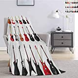 Guitar Fuzzy Blankets King Size Musical Instruments Set Pattern with Various Acoustic Bass Making Music Super Soft Cozy Queen Blanket W51 x L60 Inch Vermilion Black White
