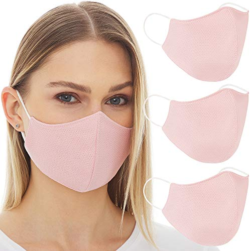 OJOS Face Cloth Mask Pink - (Pink - 3 Pack) with 3 Filter Layers, Washable and Reusable, Breathable...