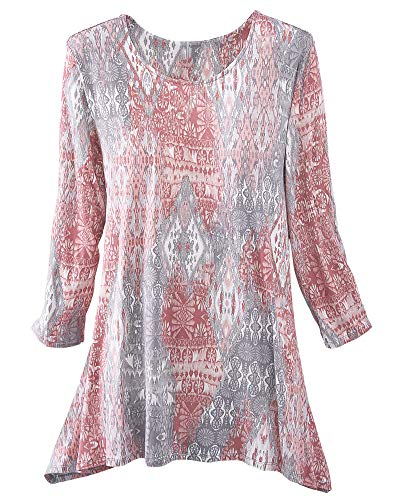 Ruby Rd. Women's Must Haves II 3/4 Sleeve Printed Sharkbite Hem Top (Large, Rose T Multi)