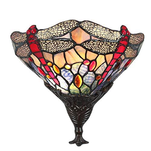 E27 Tiffany-Stil Glas Wandleuchte Muster Glaslampe Libelle Wandlampe Handgearbeitete Wandlampe 1-Flammig Metall/Glas Lamp Vintage Wandleuchten Innenbeleuchtung Wände Leuchten