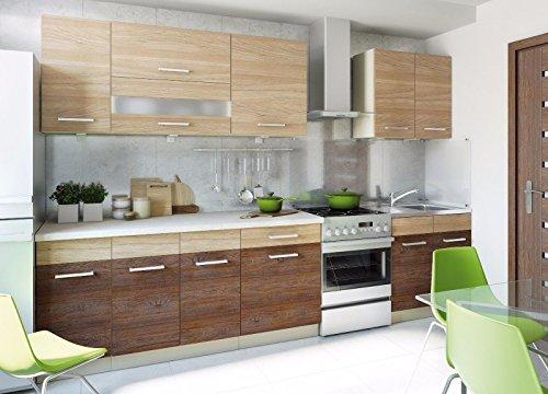 naka24 Küche Schränke Küchenzeilen Cuba Libre 260 cm Eiche Andante/Eiche Allegro
