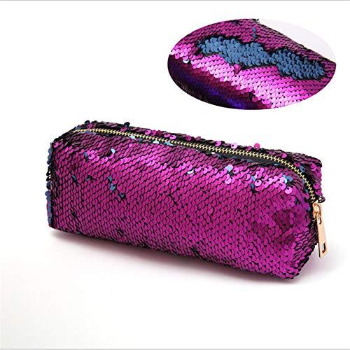FRTU Trousse de toilette Portable longue bande dames mode embrayage paillette zipper multifonctions stockage voyage cosmétique sac violet + bleu