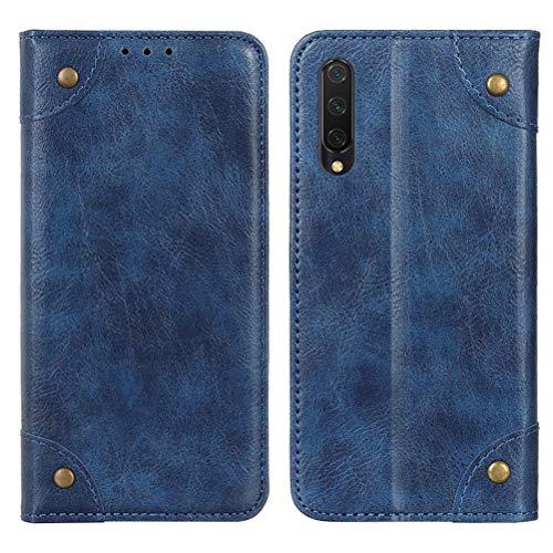 SHUNDA Capa para Xiaomi Mi CC9, capa carteira de couro magnética retrô com compartimentos para cartão, suporte e bolso para dinheiro, capa flip para Xiaomi Mi CC9/Mi A3 Lite - Azul