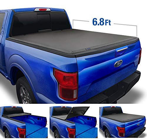 Tyger Auto T3 Soft Tri-Fold Truck Bed Tonneau Cover for 2017-2020 Ford F-250 F-350 Super Duty Styleside 6.75' Bed TG-BC3F1124, Black