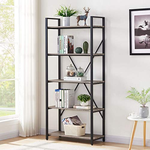 BON AUGURE Industrial Bookshelf, Etagere Bookcases and Book Shelves 5 Tier, Rustic Wood and Metal Shelving Unit (Dark Gray Oak)