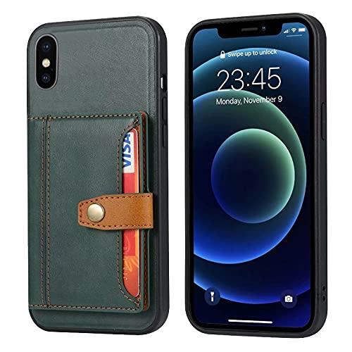 iPhone XS/X ケース 手帳型 PUレザー 耐衝撃 カード収納 スタンド機能 タッチ対応 スナップポケット付き ストラップホール付き ワイヤレス 充電対応 軽量 薄型 ブランド 正規品 (グリーン)