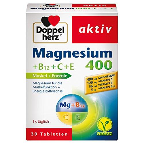 Doppelherz Magnesium 400 + B12 + C + E – Für Muskeln, Energiestoffwechsel und Immunsystem – 1 x 30 Tabletten