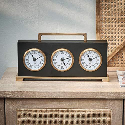 Riviera Maison - The Residence World Clock - Weltuhr/Uhr/Tischuhr - Aluminium/Messing/Glas - Schwarz - (BxTxH) 33 x 5 x 16cm