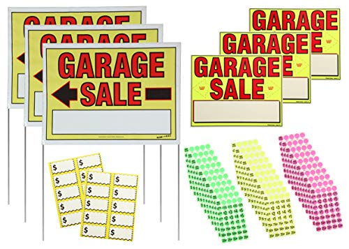 Sunburst Systems 3030 Garage Sale Sign Kit includes:Assembled 22' x 32' Doubled Sided Garage Sale Signs, (3) 11' x 14' Garage Sale Signs,1,200 Yellow, Pink and Green Pre-Priced Adhesive Labels, 20 Large Price Cards