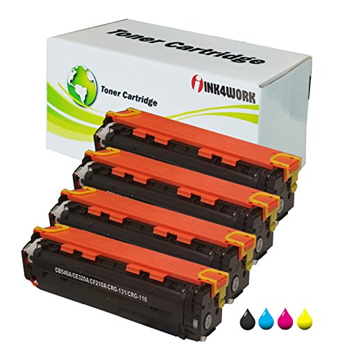 INK4WORK 4 Pack Compatible Toner Cartridge Replacement for HP 125A CB540A CB541A CB542A CB543A Color Laserjet CP1215 CP1515n CP1518ni CM1312