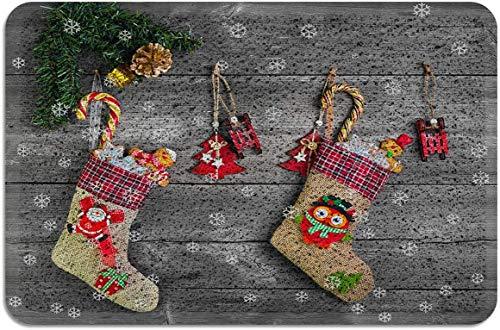 Adornos navideños de Navidad Copo de Nieve Madera Rústico Felpudo PVC Zona de Respaldo de Goma Alfombras Alfombras Antideslizantes para Puerta Principal Interior Exterior Gris