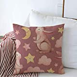 Decorative Linen Throw Pillow Cover Case Watercolor Cute Wild Moonlight Bunny Animals Wildlife Fantasy Night Sky Artistic Baby Children Square Cushion Pillowcase for Couch Bed 16 x 16 Inch