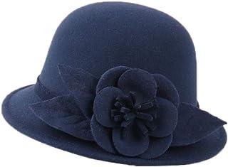 YABINA ACCESSORY Womens 1920s Vintage Wool Felt Cloche Bucket Bowler Hat Winter