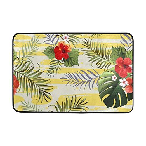 N\A Felpudo con Flores de Hibisco de Hojas de Palma, Sala de Estar, Dormitorio, Cocina, baño, Alfombra Decorativa con Estampado de Espuma Ligera