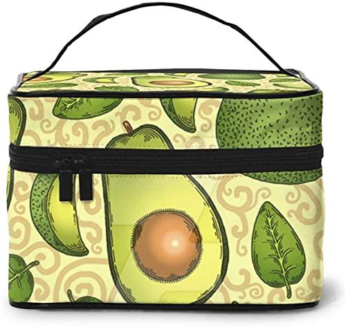 Bolsa de maquillaje grande con diseño de fruta y menta de aguacate para mujer, portátil, organizador de viaje con cremallera de malla cepillo de bolsillo con asa chica