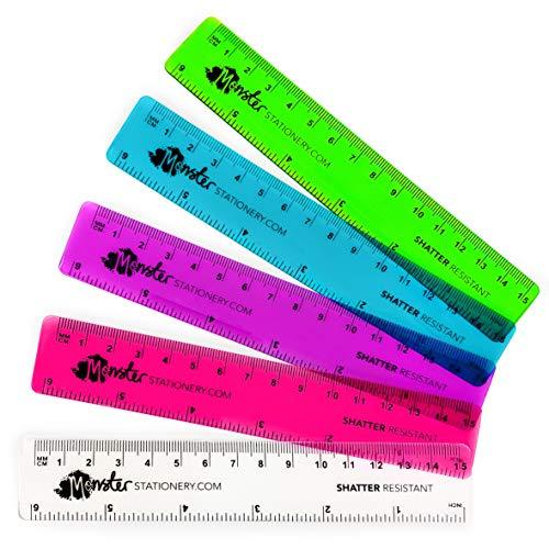 Monster Stationery - Righelli colorati trasparenti, 15 cm, infrangibili, confezione da 5