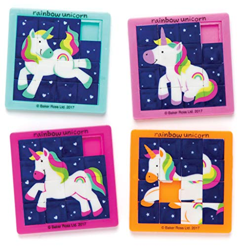 Baker Ross Sliding Unicorn Puzzles (Pack of 4) Fairy Themed Party Favors, Bag Fillers & Gift Game Ideas for Children