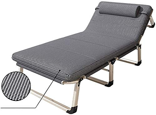 YWTT Kampeerbed, draagbaar opvouwbaar campingbed, met matras, metalen frame, max. belasting 300 kg, slaapkussen, 194 x 68 x 32 cm, gastenbed, slaapbed