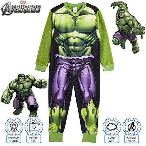Marvel Tutina per Bambini | Tutina per Bambini con Personaggi Pigiama per Ragazzi Hulk E Avengers | Tuta Pj Tutto in Uno | Regalo per Ragazzi 2-10 Anni (7/8 Anni, Hulk)