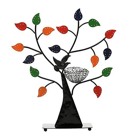 WAYER Soporte de Metal de joyería, Joyería Soporte Estante Organizador de joyería Colorido Suerte Madera de Roble para Tazas Ornamentos Anillo de Torre Expositor-Vistoso 38.7x7.5x42.5cm(15x3x17inch)