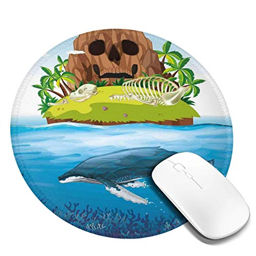 Alfombrilla de ratón redonda para juegos de 20 x 20 cm, gran ballena buceando en el océano en arco iris imagen dibujada a mano, perfecta para adolescentes, con base de goma antideslizante