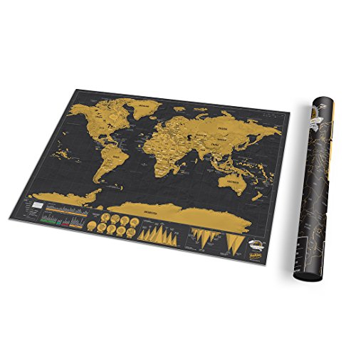 Small World Scratch Map – World Travel Map With Carrying Tube – Deluxe Scratch Off Map – Fun & Colourful Scratch Poster – Black & Gold