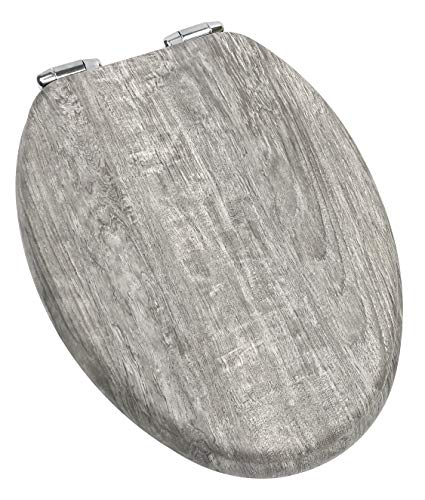 Home+Solutions Toilet Seat, Elongated, Distressed Grey Wood