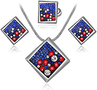 Multicolor Rhinestone Drip Square Necklace Earrings Ring Jewelry Set