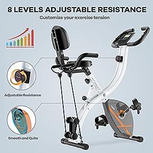 Afully Folding Exercise Bike Stationary Foldable Home Upright Recumbent Fitness Bike with Magnetic Resistance, Pulse Monitor,Dumbbells, Arm Resistance Bands,Comfortable Backrest