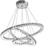 WWK De Techo de Cristal Moderna iluminación de la lámpara Comedor Sala de Estar Modernas lámparas de araña llevó luminarias Colgantes de 3 Anillos Foyer niñas Dormitorio Colgante Luces Blancas