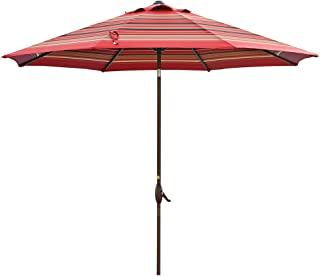 Abba Patio 11-Feet Patio Umbrella Outdoor Table Umbrella with Push Button Tilt and Crank, Red Striped