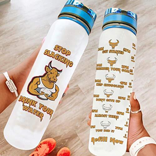 Annlotte Botella de agua – Cow Stop Slacking Drink Your Water 32 oz no tóxico Tritan boca ancha a prueba de fugas botella de agua deportiva para ejercicios de fitness, senderismo blanco 1000 ml