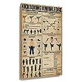 DZGNIXOAG Kickboxing Knowledge - Póster vintage para decoración de habitación de pared de baño, para paneles de pintura de pasillo (40 x 60 cm), sin enmarcar