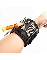 AIBAOBAO Magnetische armband, doe-het-zelf gereedschapsriem Vader Timmerman Heren Gadgets Geschenken Armband met 15 sterke magneten voor het vasthouden van nagels Schroeven Boor, Vaderdagcadeaus