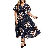 UOFOCO Plus Size Long Dress for Women Long Sleeve Flower Print Dress Cold Shoulder