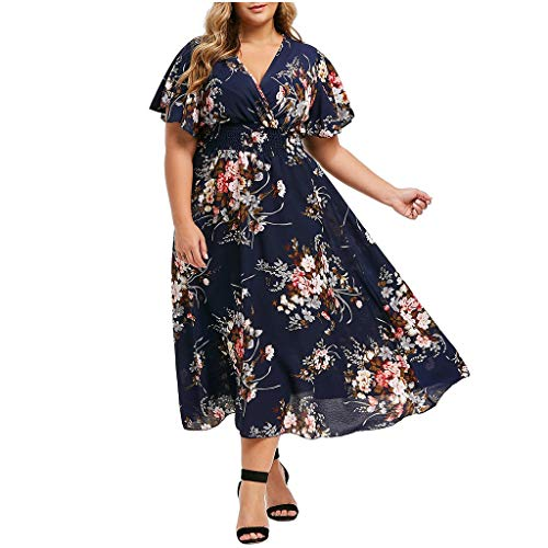 UOFOCO Plus Size Long Dress for Women Long Sleeve Flower Print Dress Cold Shoulder