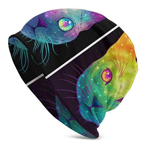 Sombreros de Punto para Adultos Unisex Gatos galácticos Gorro de Gorro Espacial Gorro de Invierno con Estampado cálido