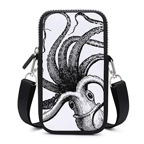 Handytasche, Crossbody mit abnehmbarem Schultergurt, Octopus Draw Anti-Fall-Tasche für Schlüssel, Handgelenk, Geldbörse, Fitnessstudio, Fitness-Taschen, Unisex