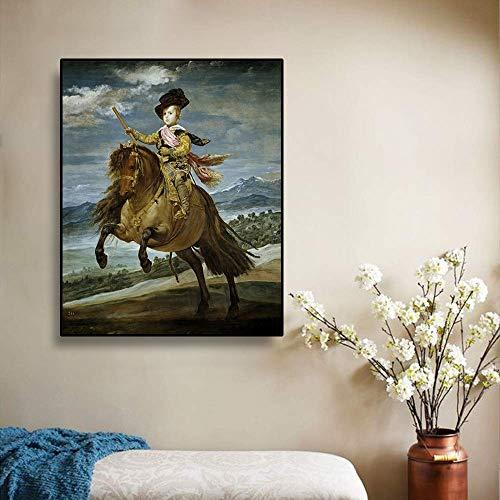 Mural póster, Póster, impresiones en lienzo, para la decoración del hogar, 《Príncipe Baltasar Carlos a caballo》 Diego Velázquez 50x64cm Sin marco AKTC3884 Lienzo De Arte De Pared Decoración