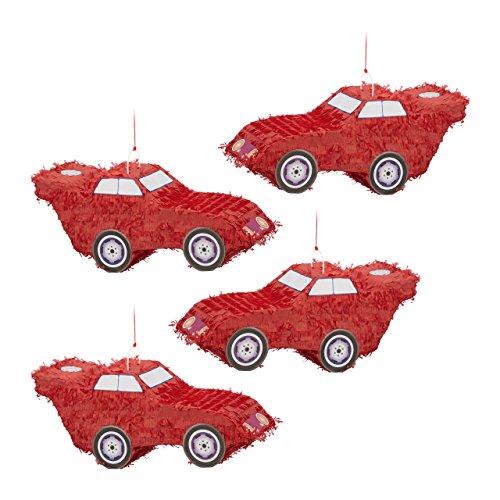 Relaxdays 4X Pinata Voiture Auto à Suspendre pour Enfants à remplir Anniversaire Jeux décoration HxlxP: 24 x 52 x 18 cm, Rouge